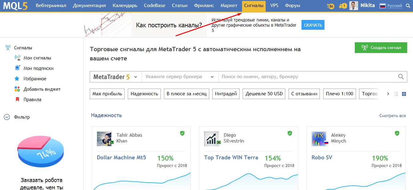 Арендуй чужую ТС. Как копировать сделки на MQL5.com 2